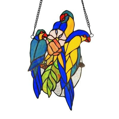 Tiffany-style Stained Glass Window Panel BLUE TAIL Birds   LAST ONE THIS PRICE