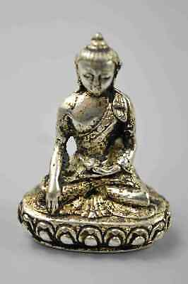 Collectable Tibet Chinese Miao Silver Carve Exorcism Buddha Old Souvenir Statue