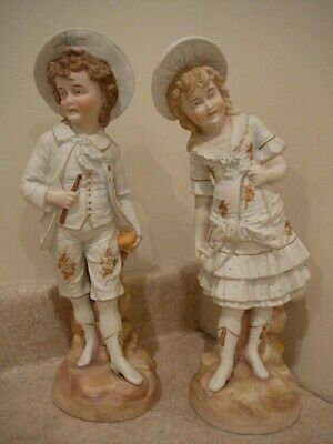 "Antique Large German Bisque Porcelain China Pair Figurines Statues Boy Girl ""Rw"""