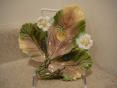 Vintage Majolica Art Pottery Faience Strawberry Blossoms Dish Plate Pink Green