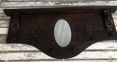 ANTIQUE FRENCH OAK CARVED BACK 2 LIONS w/ MIRROR HANGING RACK RUSTIC RANCH HOUSE