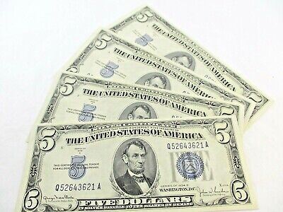 4 U.S. $5 Dollar Silver Certificates Series 1934-D Consecutive Serial Numbers