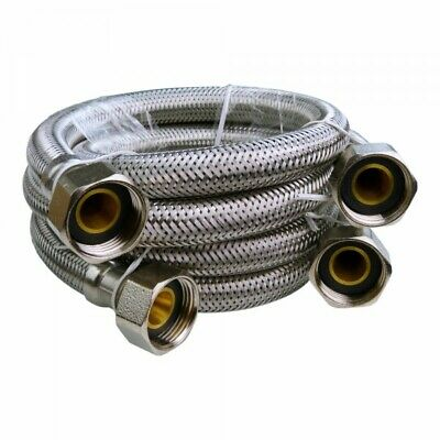 "Stainless Steel Flexschlauch Pressure Hose 3/4 "" Armored 2 Pcs Reventon 5161"