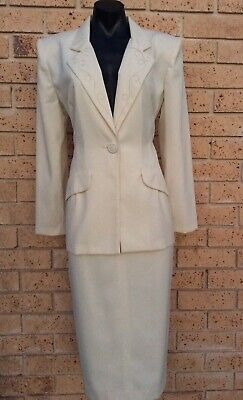 Vintage Skirt Suit Tailored Sz 12 Ivory Classic Skirt & Jacket Made in Australia