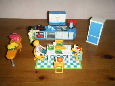 R208 PLAYMOBIL MAISON MODERNE Grande Table Orange Cuisine 5329