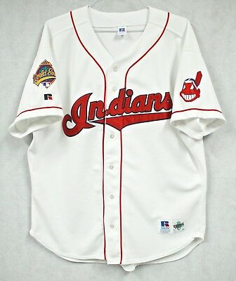 huge discount 3fc8d 72f34 VTG 1997 RUSSELL CLEVELAND INDIANS World Series Jersey 52 XXL 2XL White  Sewn 90s