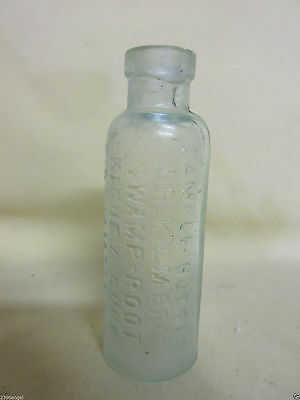 ANTIQUE DR. KILMER'S SWAMP ROOT CURE 3in. AQUA SAMPLE BOTTLE N.Y.