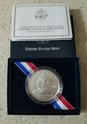 2003-P First Flight Centennial US Mint 90% Silver  Dollar  Coin with Box and COA