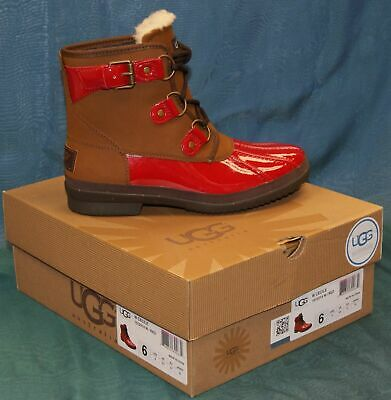65d0b4931f0 UGG AUSTRALIA EXCLUSIVE Women's Cecile Leather Red Waterproof Boots BRAND  NEW