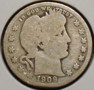 Barber Quarter - 1909 - Historic Silver! - $1 Unlimited Shipping.