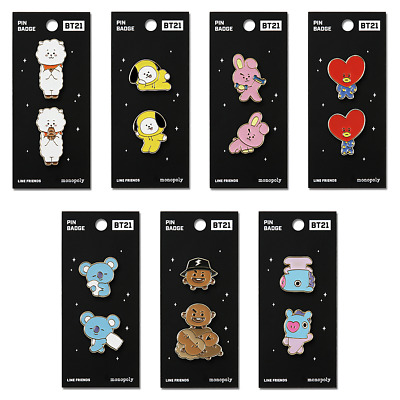 BTS BT21 Character Pin Badge / Metal Brooch / Official KPOP Authentic Goods