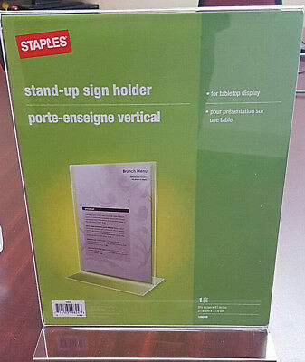 "Staples Acrylic 8.5 x 11 ""Vertical Stand-up Double Sided Frame/Sign Holder 8Pk"