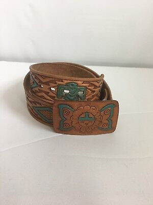 Vintage Chambers Leather Belt Hand Painted Size 32 Western Southwest Native Tool