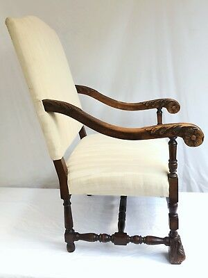 Antique English Fireside Oak Carved Upholstered Arm Chair C.~late 19th Century