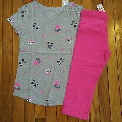 NWT Justice Girls Top//Mesh Shorts Llamacorn Pugicorn Size 8 10 12