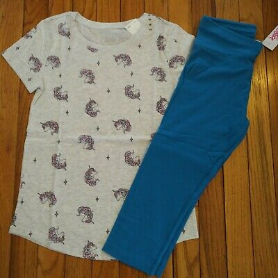 NWT Justice Girls Outfit Unicorn Top//Blue Capri Leggings Size 6 7 8 10 12