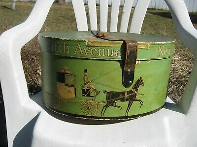 Vintage 1920's/30's Dobbs Fifth Avenue Hats Box w/Leather Strap & Inside Holder