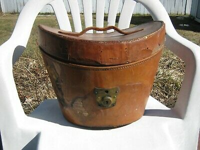 Antique Brown Leather Hat Box Rogers-Peet & Co. #1421 Pat. July 27 1897 on Lock