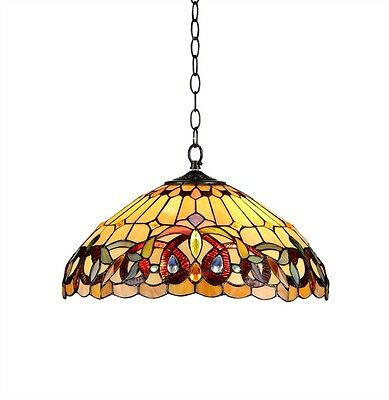 "Ceiling Pendant Light 18"" Shade Victorian Tiffany Style Hanging Stained Glass"