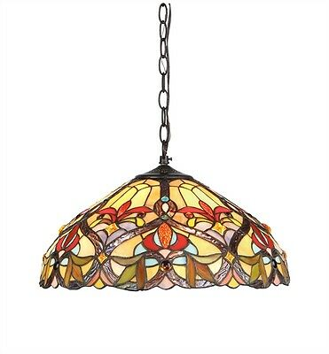 "Tiffany Style Victorian Hanging Stained Glass Ceiling Pendant Light 18"" Shade"