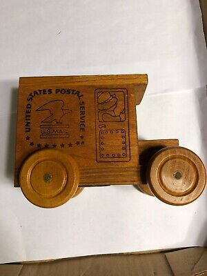 1991 Toystalgia Wooden Postal Service Mail Toy Truck Musical Coin Bank ZB9