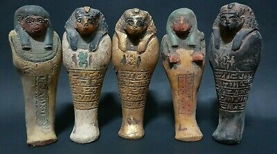 ANCIENT EGYPTIAN ANTIQUES 5 USHABTI (SHABTI) With Hieroglyphics Egypt Stone BC