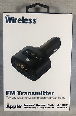Just Wireless FM Transmitter & Dual Port Car Charger LED Display Black For Apple