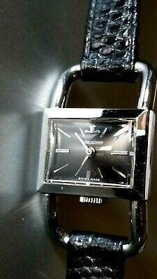 Rare Jaeger LeCoultre Women's 17J Stainless Steel Driver's Watch NICE! Ca.1960's