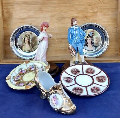 "Victorian Figurines, Plates ++ Vintage ""Gold Shoe"", Dishes Lot of (7) Pieces"