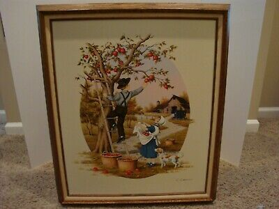 Vintage C. Carson Framed Oil Painting Of Boy Picking Apples**Very Large Print**