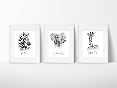 Jungle Animals Nursery Wall Decor Prints, Colour or Black & White