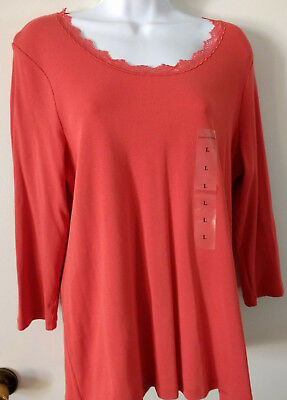 Nwt Womens Laura Ashley Long Sleeve Top - Lace Trimmed Collar -  Size L