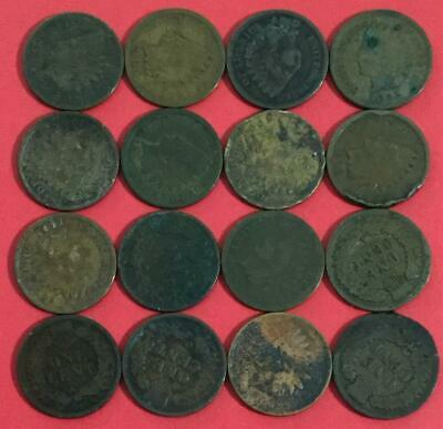 1800s-1900s US Indian Head Cents Set of 16 assorted! Rough Indians! Old US Coins