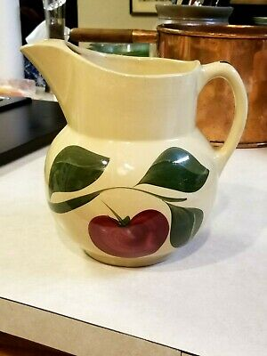 "Vintage Watt Pottery 3 Leaf Apple Pattern 8"" Pitcher With Ice Lip No #"