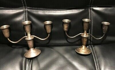 """2 Crown Weighted Sterling Silver 6.75"""" Candelabra  3 Candlestick Candle Holders"""