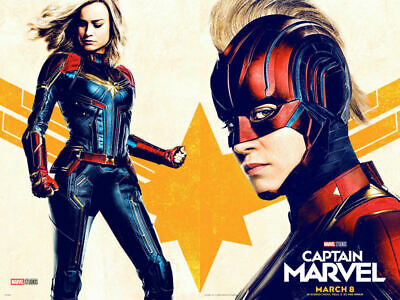 Y234 Captain Marvel 2019 Movie Brie Larson Art Sikl Poster Custom 36 32x48inch