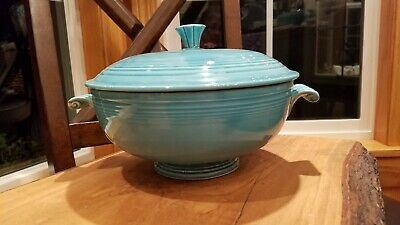 Vintage Fiesta Turquoise Round Footed Covered Casserole Dish