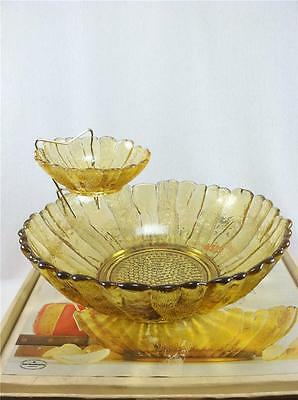 Vintage Anchor Hocking Country Estate Chip And Dip Set in Box  Honey Gold
