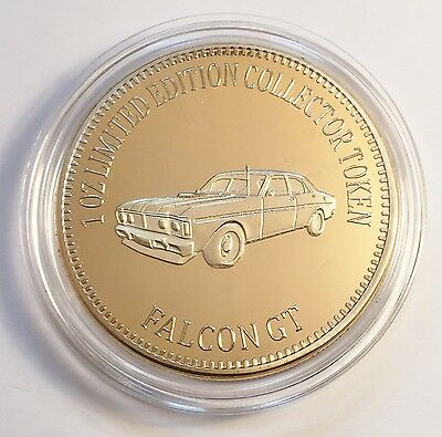 """FORD FALCON GT"" Muscle Car Series 1 0z HGE 999 24k Gold Coin/token LTD 2,500"