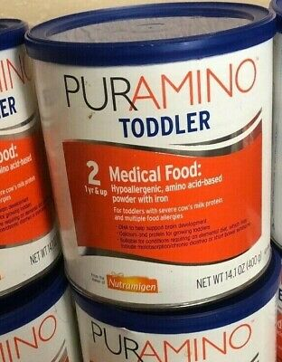 3 cans PURAMINO TODDLE Hypoallergenic Formula, Powder Exp 04/01/19
