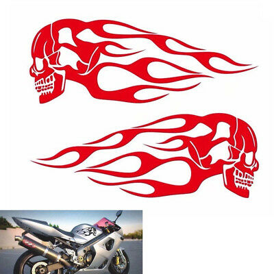 Pair Red Motorcycle Skull Flame Stripes Gas Tank Vinyl Decal Sticker Universal