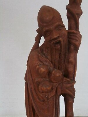 Antique Chinese Statue Red Wood Hand Carved Old Wise Man