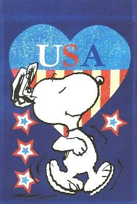 """Peanuts Snoopy USA 4th Of July Garden Flag 12/""""X18/""""-Free Shipping-New In Package"""