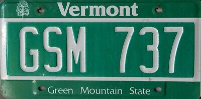 USA Number Licence Plate VERMONT GREEN MOUNTAIN STATE
