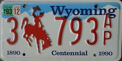 USA Number Licence Plate WYOMING CENTENNIAL 1890-1990