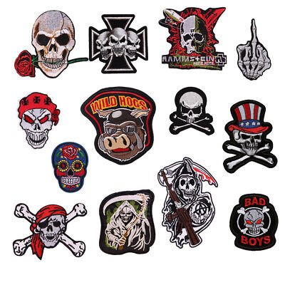 Punk Ghost Biker Skull Embroidered Iron ON/Sew On Patch Arm Badge U-pick