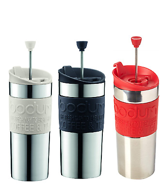 BODUM Travel French Press Coffee Maker, Vacuum, Small, 0.35 L -Off White, Red,