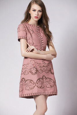 Front Button Guipure Lace Dress Ivory Dusty Pink Inspired By