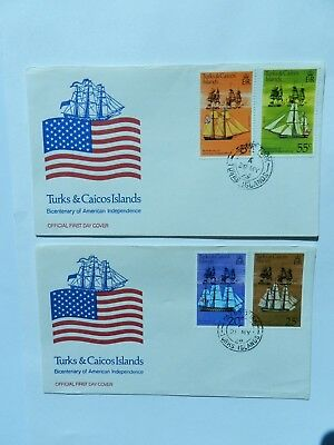 Turks & Caico 2 First Day Covers 1976 American Independence 4 stamps