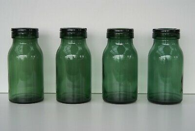 Vintage Bulach Switzerland Green Glass Preserving Jars With Lids